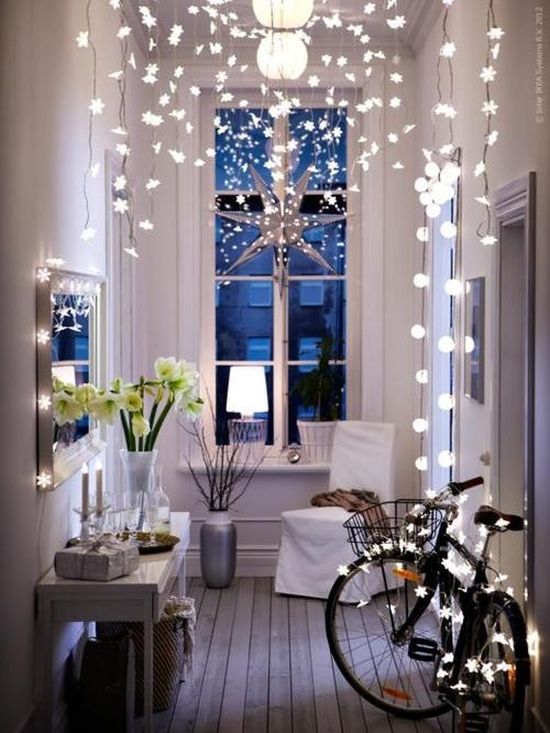 fairy lights hallway