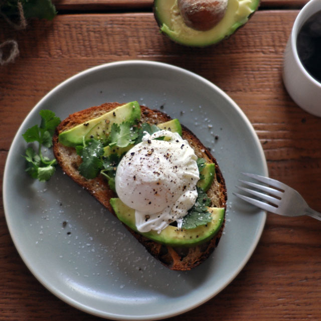 ... whole grain bread, mash up some avocado and put a poached egg on top