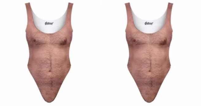 Here's a bathing suit with a man's hairy chest printed on it