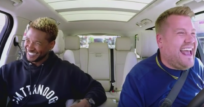 Usher does Carpool Karaoke, cleans his Hollywood star. (Nothing but respect.)