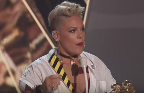 Pink Delivers Emotional Speech About Self-Acceptance at the VMAs